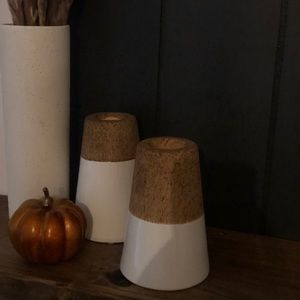 Mid century modern insured cork and white candles
